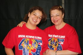 Reem Abdelmeguid and her mother, Azza Tawfik, model the 45th anniversary T-shirts Reem designed