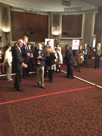 The athletes demonstrated their bocce skills for Congressmen