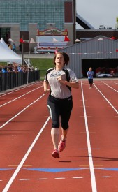 Michelle Kendall competes in the 400-meter run portion of the pentathlon at 2015 Summer Games
