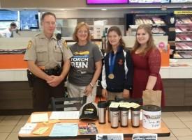Steve, Chris, Rikki and Nicki Kirsch at Dunkin' Donuts
