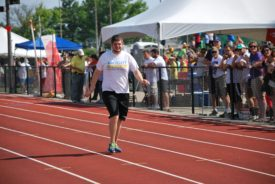 Mason Krischel competes in the walk race