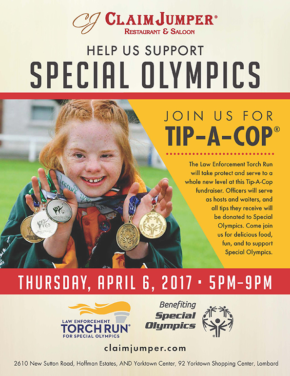 Claim Jumper to benefit Special Olympics @ Claim Jumper Restaurant - Hoffman Estates & Lombard
